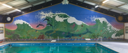 The Hokusai wave mural in the swimming pool